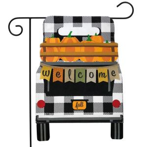 Black Checkered Truck Burlap Garden Flag