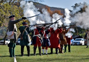 Fort William Henry musket salute on Veterans Day at Field of Flags