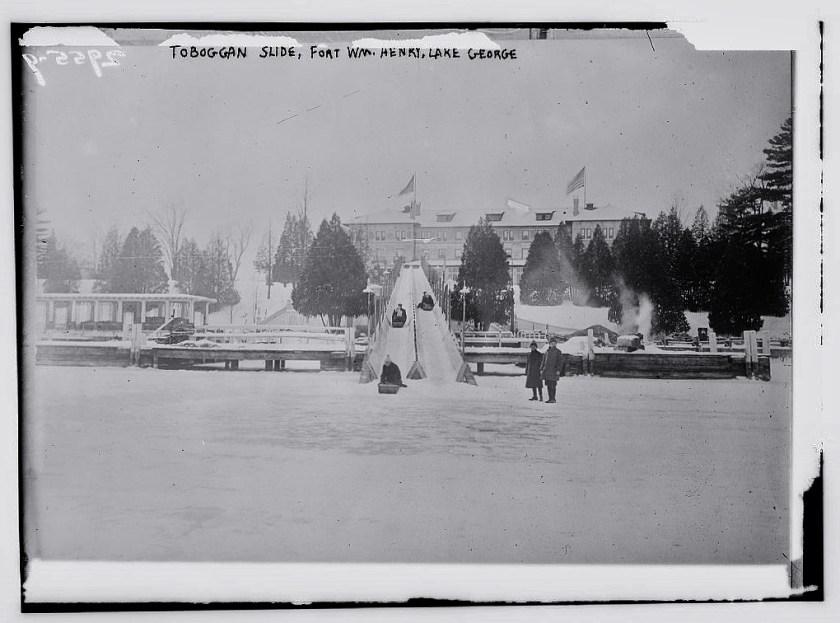 Toboggan slide at Fort Wm Henry Hotel lake george ice
