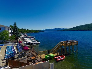Lake motel dock looking out on Lake George