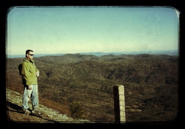 Mike standing at overlook on Whiteside Mountain, near Highlands and Cashiers, NC