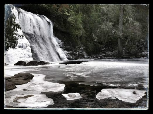 icy Silver Run Falls in Cashiers NC