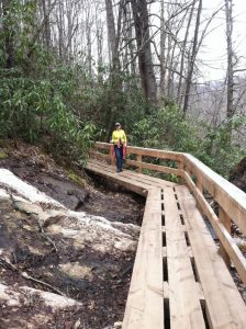 Wooden walkway on High Falls Trail Lake Glenville NC