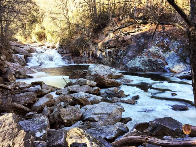 Frozen Cullasaja River, Highlands NC