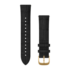 Black Embossed Italian Leather with 24K Gold PVD Hardware