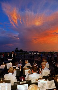 Lakeland Concert Band at Honor Flight at sunset