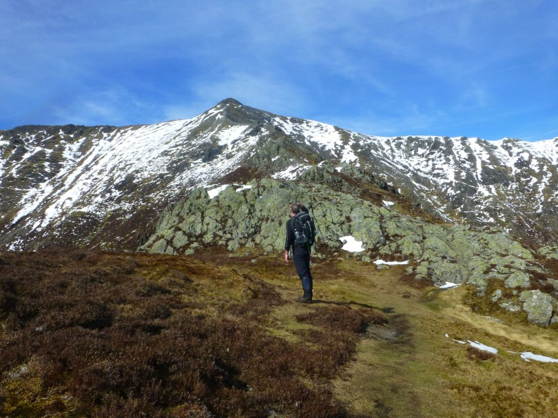 Tim in front of Halls Fell Ridge, Blencathra
