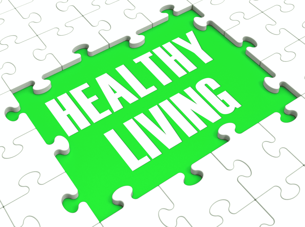 "Puzzle that says ""healthy living."""