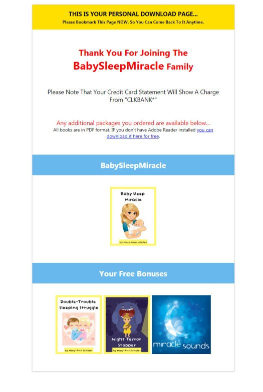 Baby Sleep Miracle Download Page