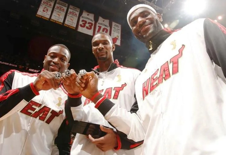 Dwyane Wade, Chris Bosh and LeBron James of the Miami Heat