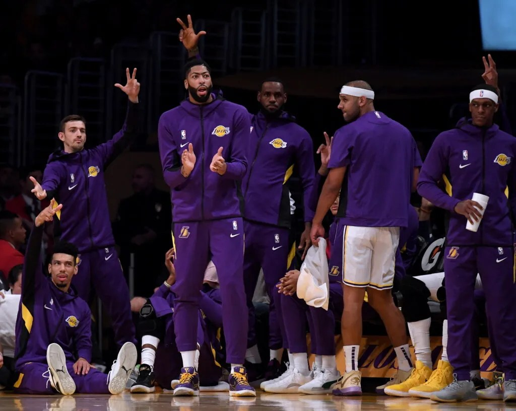 Danny Green, David Stockton, Anthony Davis, LeBron James, Jared Dudley and Rajon Rondo. Los Angeles Lakers vs Golden State Warriors at Staples Center