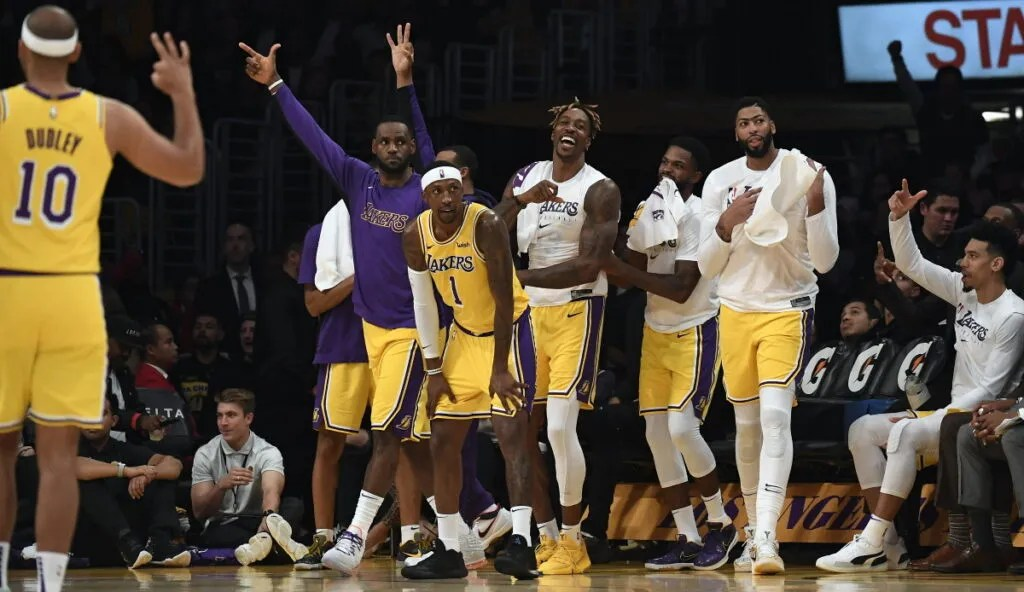 LeBron James, Dwight Howard, Anthony Davis and Kentavious Caldwell-Pope. Los Angeles Lakers vs Memphis Grizzlies