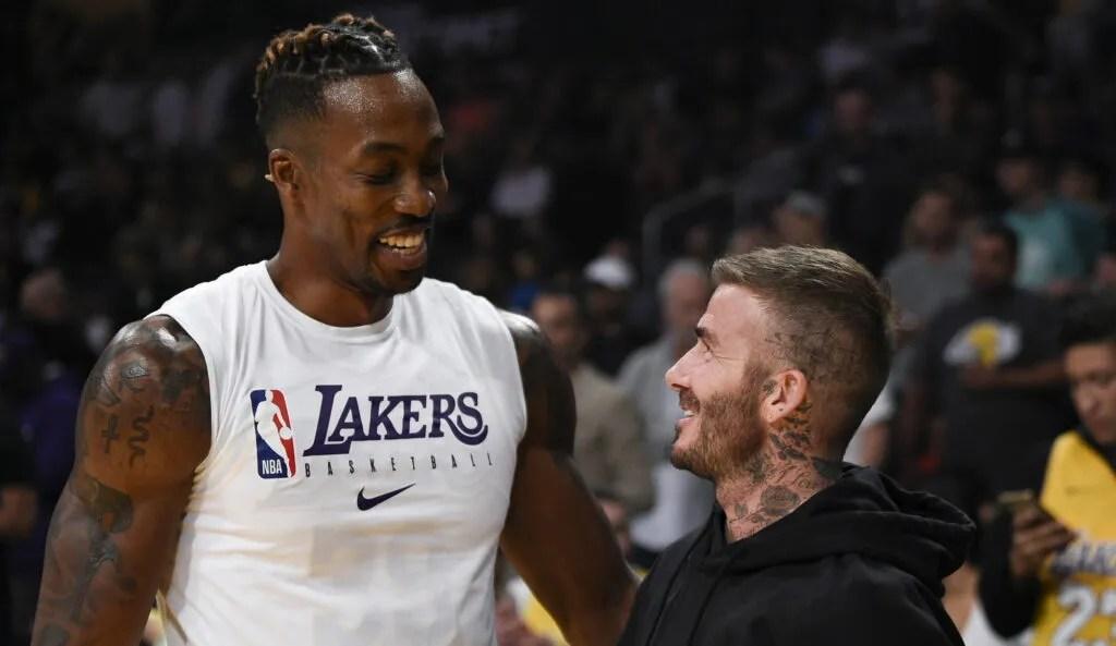 Dwight Howard and David Beckham, Los Angeles Lakers vs Charlotte Hornets