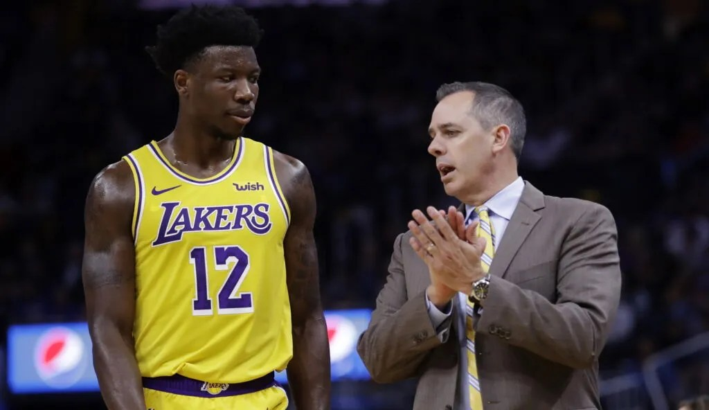 Devontae Cacok and coach Frank Vogel, Los Angeles Lakers vs Golden State Warriors
