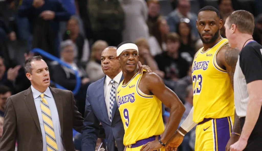 Frank Vogel, Lionel Hollins, Rajon Rondo and LeBron James. Los Angeles Lakers vs Oklahoma City Thunder