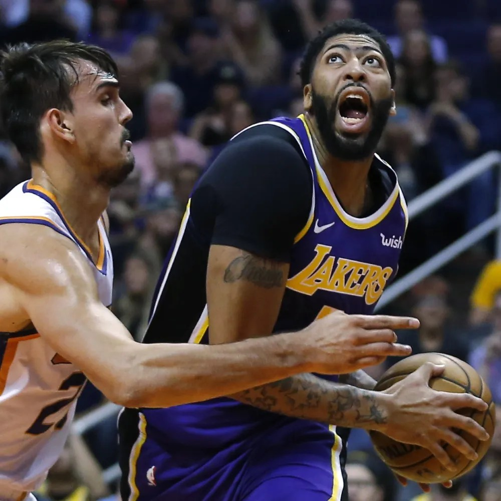 Anthony Davis and Dario Saric, Los Angeles Lakers vs Phoenix Suns
