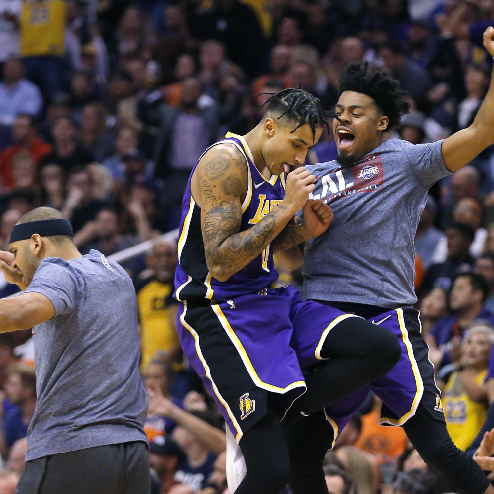 Kyle Kuzma and Quinn Cook, Los Angeles Lakers vs Phoenix Suns