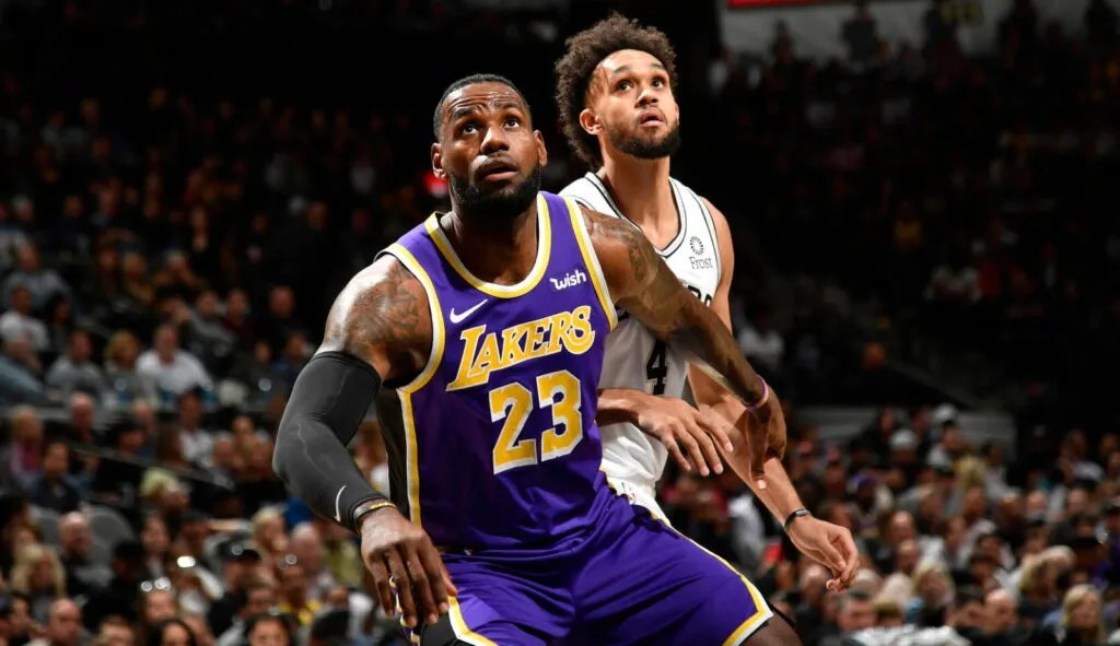 LeBron James and Derrick White, Los Angeles Lakers vs San Antonio Spurs