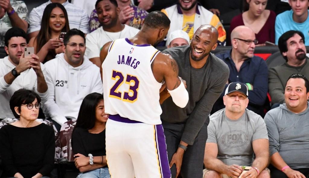 LeBron James and Kobe Bryant, Los Angeles Lakers vs Atlanta Hawks