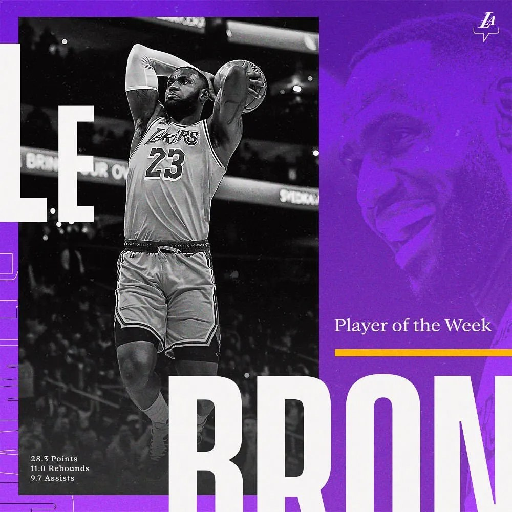 For the 62nd time in his legendary career: LeBron James has been named Player of the Week