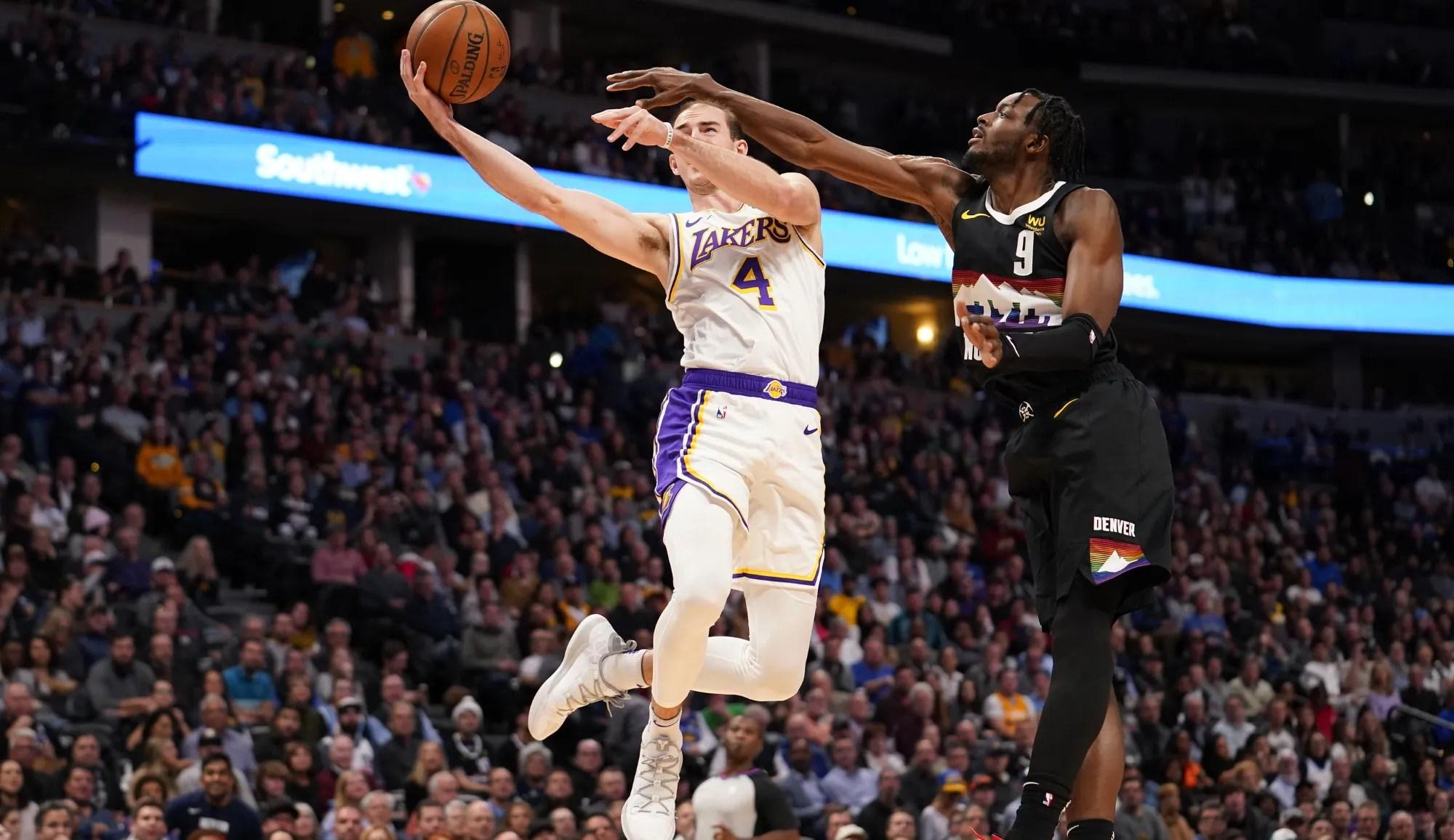 Alex Caruso and Jerami Grant, Los Angeles Lakers vs Denver Nuggets
