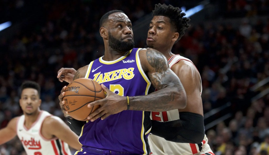 LeBron James and Hassan Whiteside, Los Angeles Lakers vs Portland Trail Blazers at the Moda Center