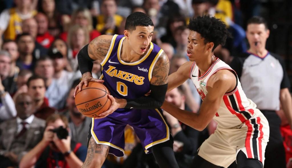 Kyle Kuzma, Los Angeles Lakers vs Portland Trail Blazers at the Moda Center