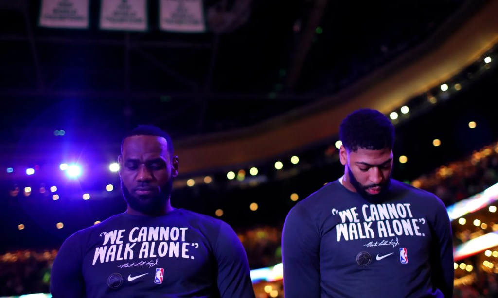 LeBron James and Anthony Davis, Los Angeles Lakers vs Boston Celtics at TD Garden