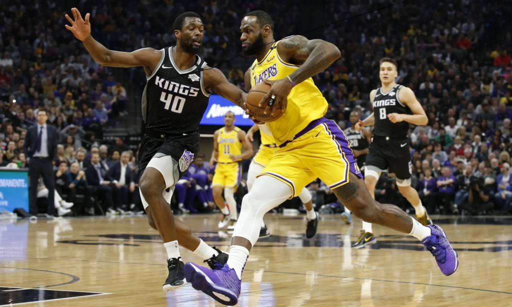 LeBron James and Harrison Barnes, Los Angeles Lakers vs Sacramento Kings at Golden 1 Center