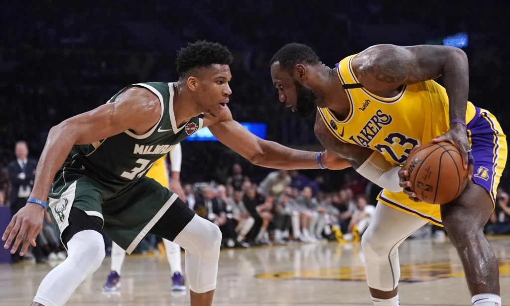 LeBron James and Giannis Antetokounmpo, Los Angeles Lakers vs Milwaukee Bucks at STAPLES Center