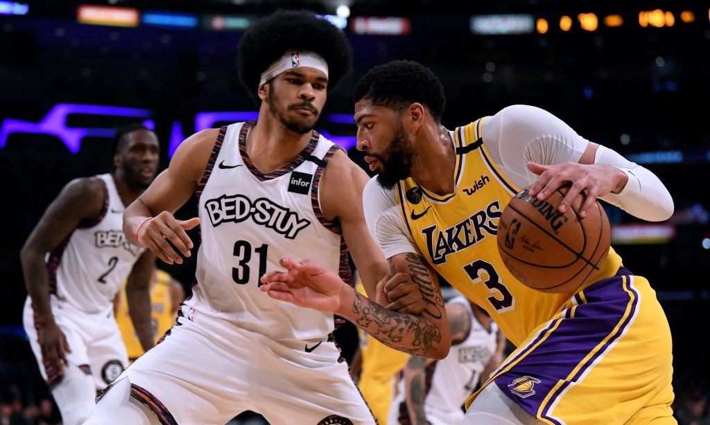 Jarrett Allen and Anthony Davis, Los Angeles Lakers vs Brooklyn Nets at STAPLES Center