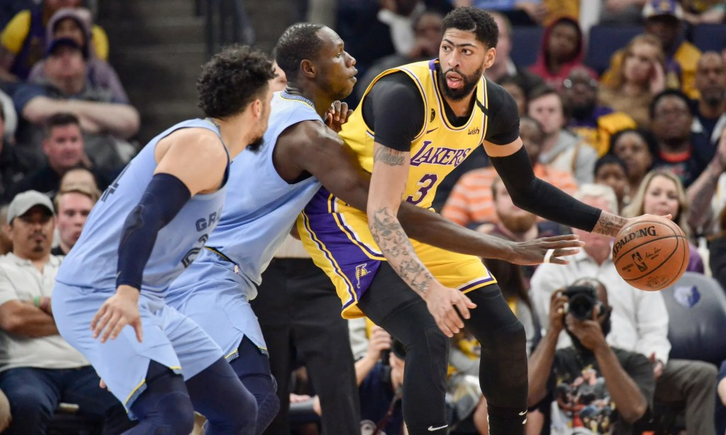 Anthony Davis, Gorgui Dieng and Dillon Brooks. Los Angeles Lakers vs Memphis Grizzlies at FedExForum