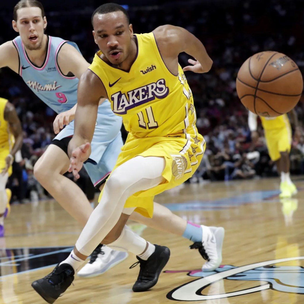 Avery Bradley and Kelly Olynyk, Los Angeles Lakers vs Miami Heat