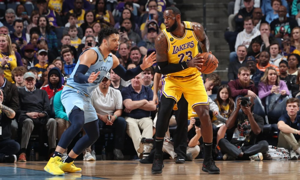 LeBron James and Dillon Brooks, Los Angeles Lakers vs Memphis Grizzlies at FedExForum