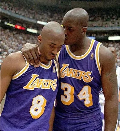 Shaquille O'Neal and Kobe Bryant, Los Angeles Lakers vs Utah Jazz, Game Five and Round Two of the 1997 NBA Western Conference Playoffs at the Delta Center in Salt Lake City on May 12, 1997