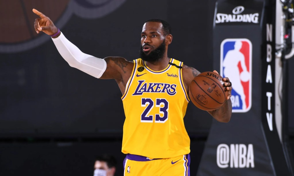 LeBron James #23 of the Los Angeles Lakers dribbles the ball up court on August 13, 2020