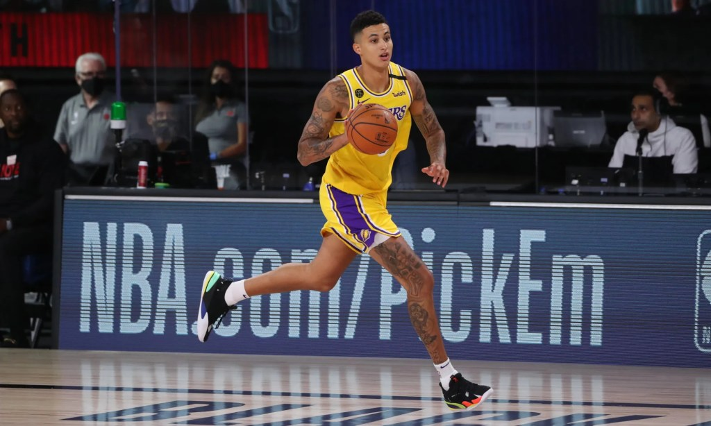 Kyle Kuzma #0 of the Los Angeles Lakers handles the ball against the Toronto Raptors on August 1, 2020(Joe Murphy)