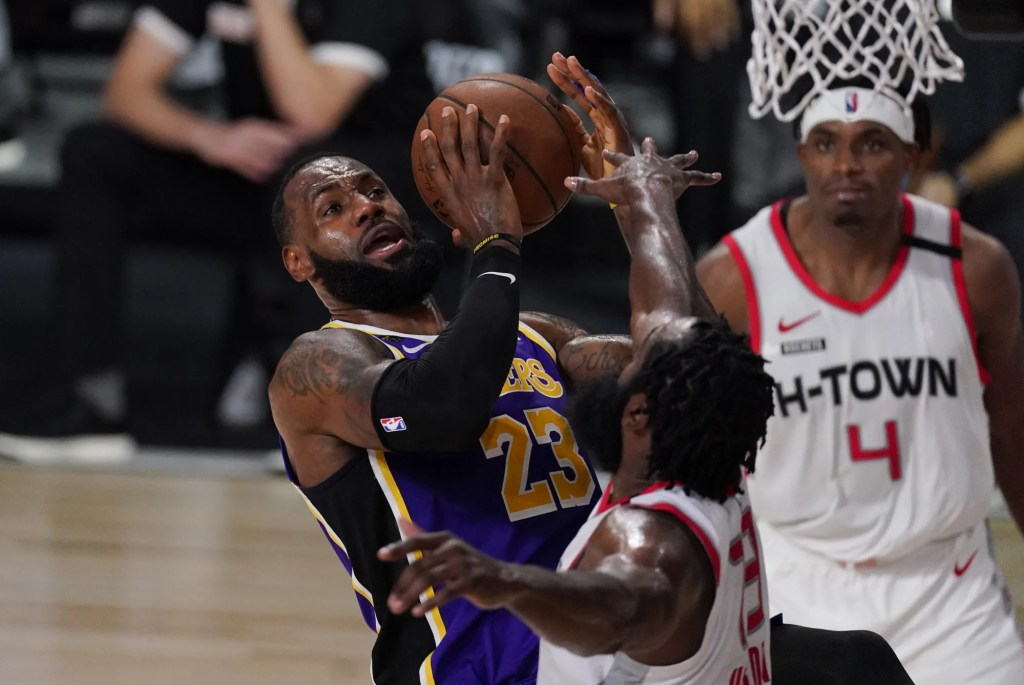 LeBron James, Los Angeles Lakers vs Houston Rockets during Game One of the Western Conference Semifinals of the NBA Playoffs on September 4, 2020