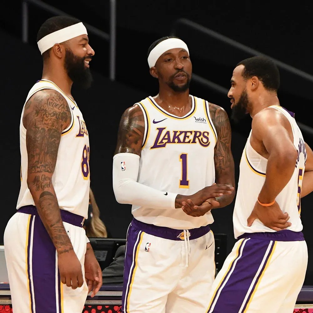 Markieff Morris, Kentavious Caldwell-Pope and Talen Horton-Tucker, Los Angeles Lakers vs LA Clippers at STAPLES Center