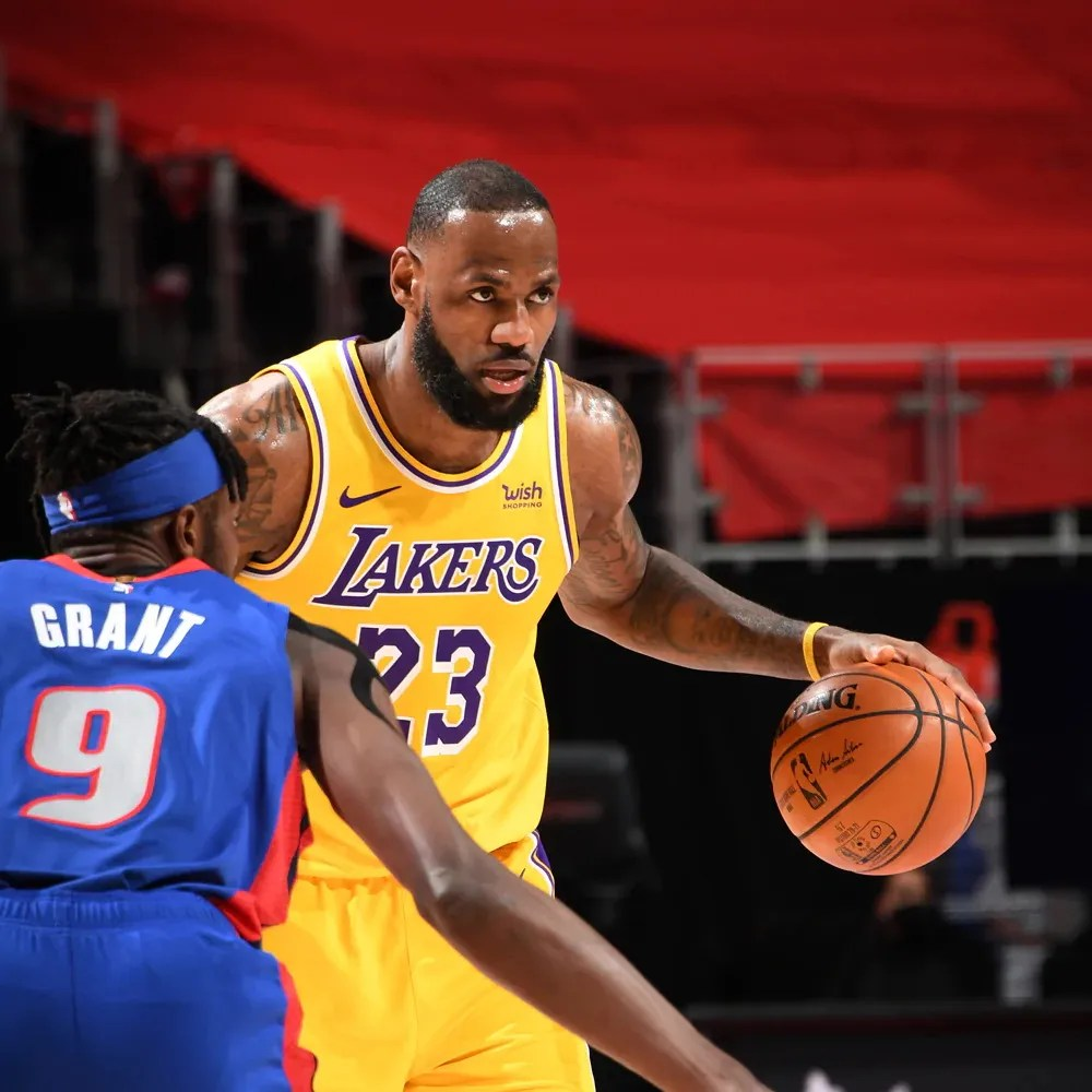LeBron James and Jerami Grant, Los Angeles Lakers vs Detroit Pistons