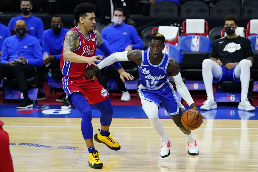 Danny Green and Dennis Schröder, Los Angeles Lakers vs Philadelphia
