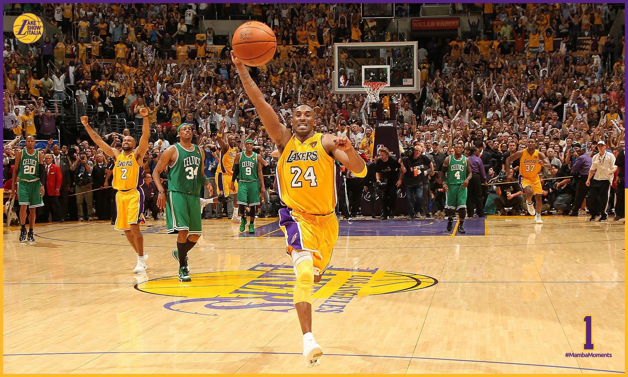 Kobe Bryant al termine dei Gara 7 tra Lakers e Celtics