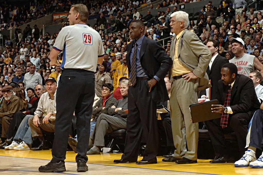 Avery Johnson, Del Harris and Steve Javie, Los Angeles Lakers vs Dallas Mavericks