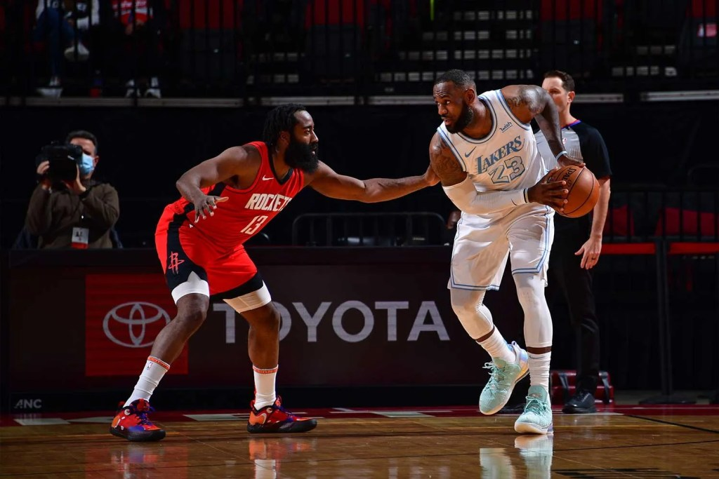 James Harden and LeBron James, Los Angeles Lakers vs Houston Rockets