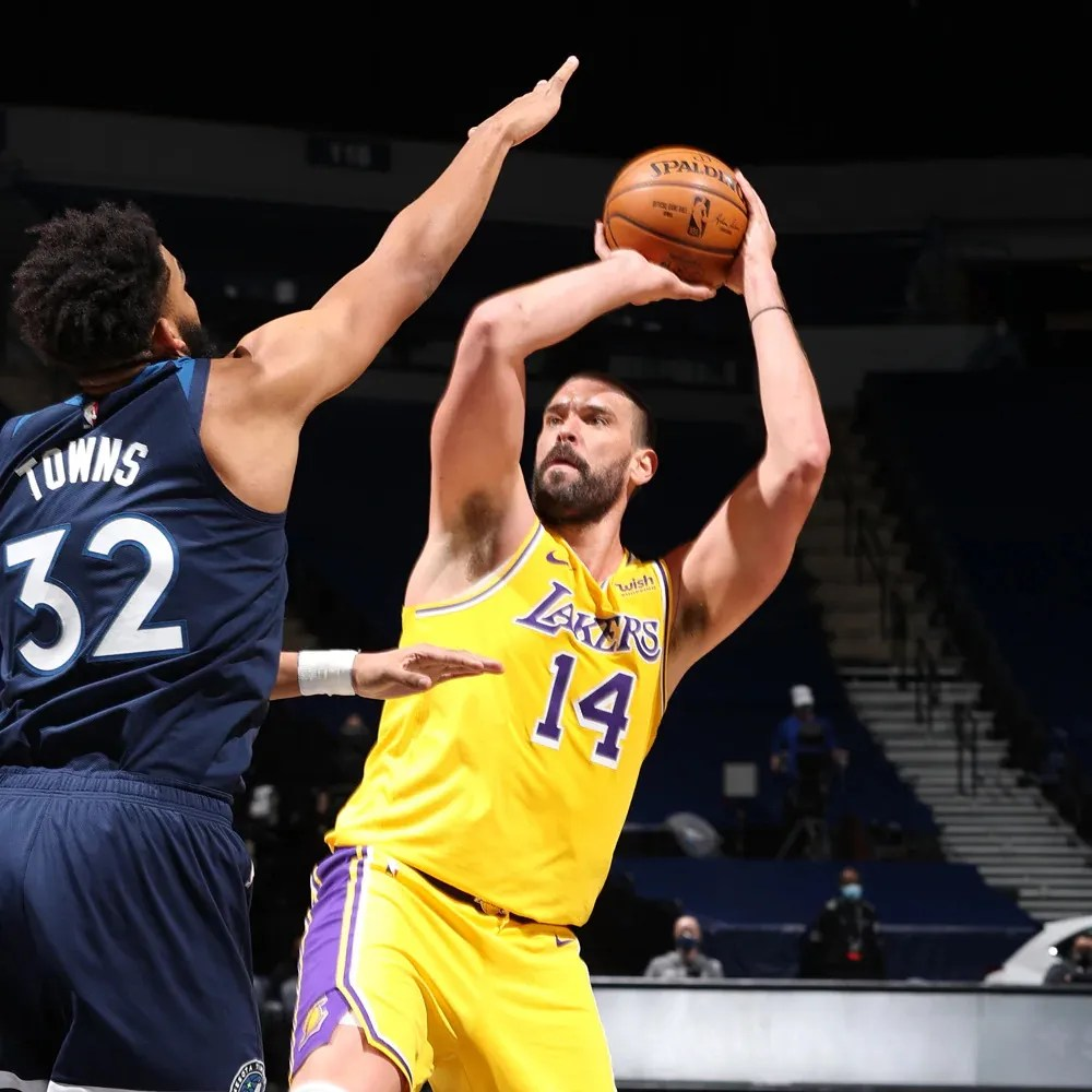Karl-Anthony Towns and Marc Gasol, Los Angeles Lakers vs Minnesota Timberwolves