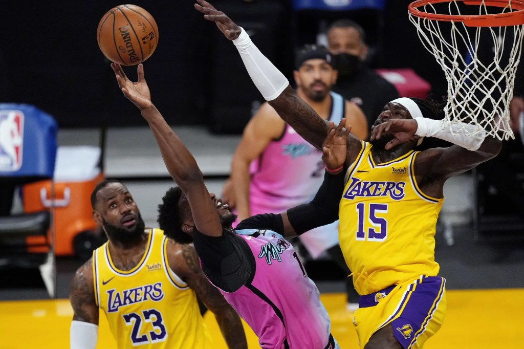 Bam Adebayo, LeBron James and Montrezl Harrell, Los Angeles Lakers vs Miami Heat