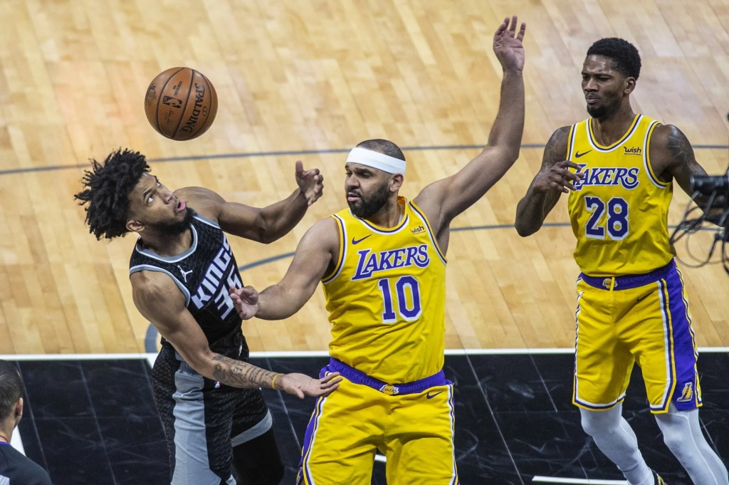 Marvin Bagley III, Jared Dudley and Alfonzo McKinnie, Los Angeles Lakers vs Sacramento Kings