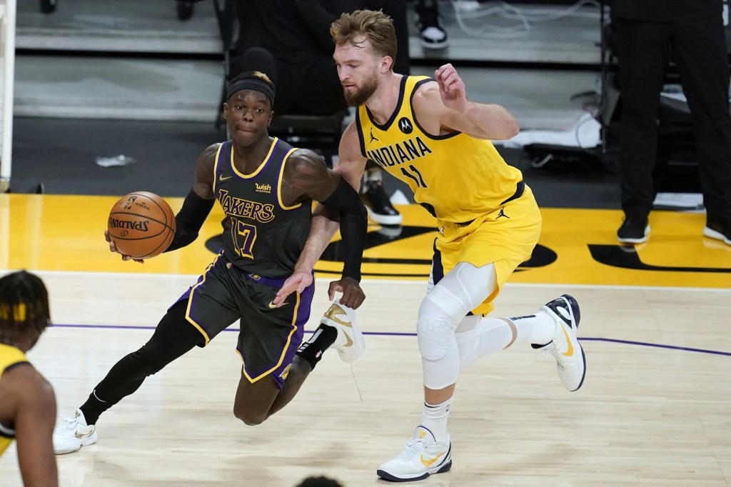 Dennis Schroder and Domantas Sabonis, Los Angeles Lakers vs Indiana Pacers