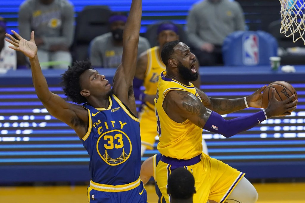 LeBron James and James Wiseman, Los Angeles Lakers vs Golden State Warriors