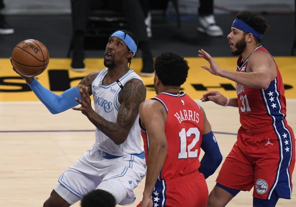 Kentavious Caldwell-Pope, Tobias Harris and Seth Curry, Los Angeles Lakers vs Philadelphia 76ers